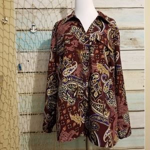 NY Collection Plus Size 1X Paisley Button Down Top